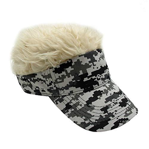 Kafeimali Mens Novelty Adjustable Visor Wig Skull Turban Cap Knit Hip Hop Hat (Camouflage K)