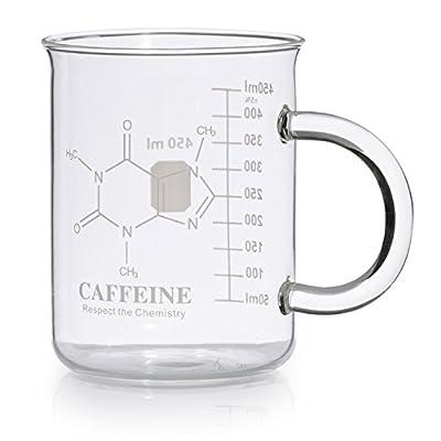 Caffeine Beaker Mug, Caffeine Molecule Mug - Chemistry Mug 16 oz Borosilicate Glass Coffee Mugs with Handle and Measuring for Coffee, Latte, Tea or Hot and Cold Beverage, Tea Coffee Mug by Amugo
