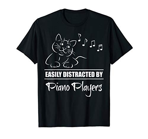 Curious Cat Easily Distracted by Piano Players Fun Whimsical T-Shirt