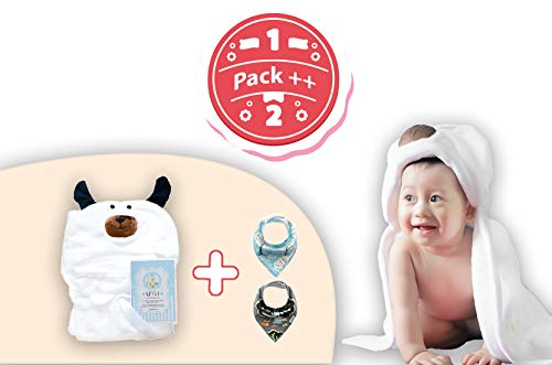 Baby Hooded Towel and Get Extra 2 Nice Baby Neck Scarf. Soft & Absorbent Bath Towel. Warm and Cute Wrapped Blanket. Great Shower Gift for Newborn and Infant.