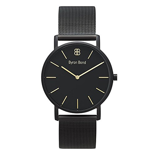 38mm Ultra Thin Slim Case Minimalist Fashion Watch for Men & Women by Byron Bond (Piccadilly - Black Case with Black Dial, Gold Indices and Black Mesh Strap)