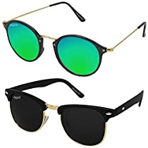 a5bb7dc6d Elegante UV Protected Stylish Combo of Black Clubmaster and Green Mirrored  Round Sunglasses for Men and