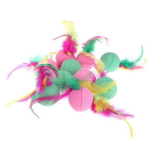 - Poity Pet Chew Toy Colorful Cat Ball Toy Latex Feathered Balls Toy for Cats 10 Pieces