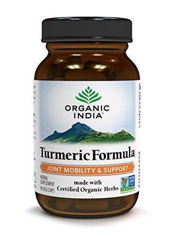 ORGANIC INDIA Natural Turmeric Root Veg Capsules, USDA Certified Organic, High Bioavailability Formula, 90 Capsules