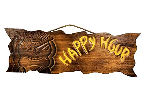 All Seas Imports Beautiful Handcarved & Painted Natural Wood Happy Hour Sign with Tiki God Tropical Wall Decor Sign ()