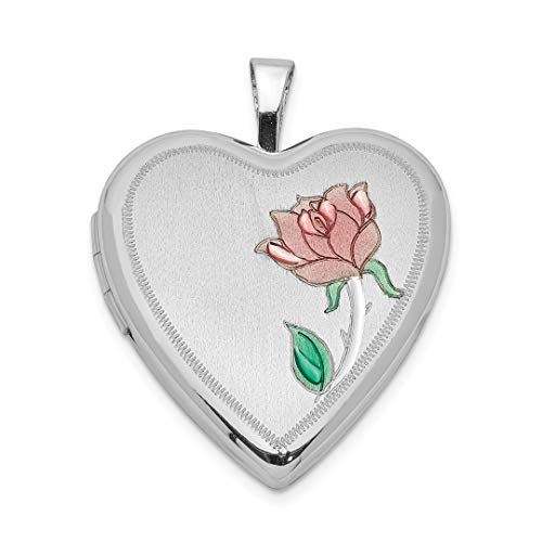 925 Sterling Silver 20mm Enameled Flower Heart Photo Pendant Charm Locket Chain Necklace That Holds Pictures Fine Jewelry Gifts For Women - Valentines Day Gifts For Her (Swarovski Flower Ice)