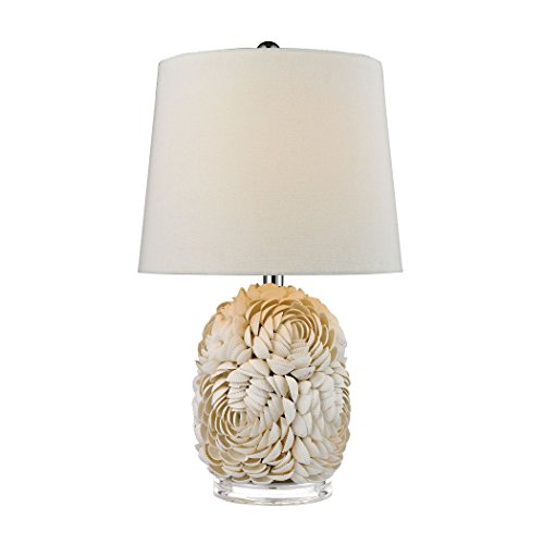 (Diamond D2655 Lighting Natural Shell Table Lamp with Off White Linen Shade, 23