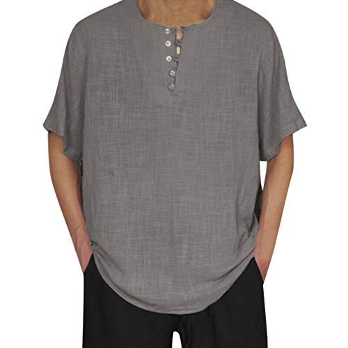 Realdo Mens Plain Solid T-Shirt,Men's Lightweight Breathable Cotton Linen Short Sleeve Classic Tops Blouse Grey