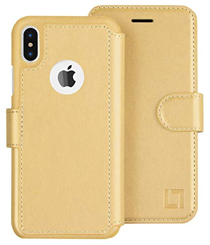LUPA iPhone Xs Max Wallet Case, Durable and Slim, Lightweight with Classic Design & Ultra-Strong Magnetic Closure, Faux Leather, Gold,for Apple iPhone Xs Max