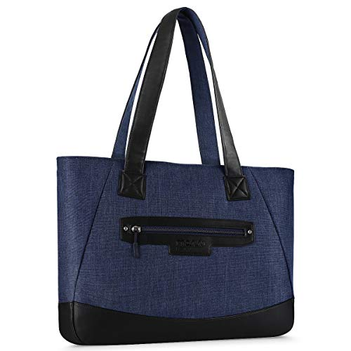 MOSISO Laptop Tote Bag (Up to 15.6 Inch), Water Resistant PU & Polyester Women Work Travel Shopping Carrying Shoulder Handbag with Compartment Compatible Notebook, MacBook & Ultrabook, Navy Blue ()