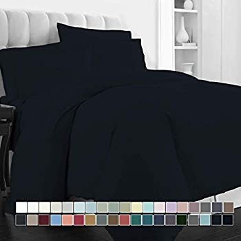 Image of Home and Kitchen Amuze Bedding 6 Piece 400 GSM Comfortor Set 100% Egyptian Cotton (1 Duvet Cover, 1 Comfoter & 4 Pillowcases)_Navy Blue_Tiwn