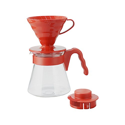 Hario V60 Pour Over Coffee Starter Kit, Size 02, Red