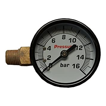 Manómetro 50 1/4 vt16 bares de presión de izquierda Aire Manómetro Compresor De