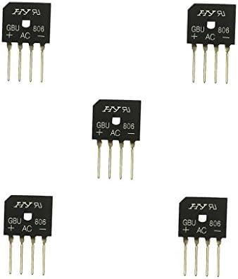 5 stücke Vollbrückengleichrichter Gbu806 / 808 8A 600/800 V Einphasig 4 Bolzen - 600v