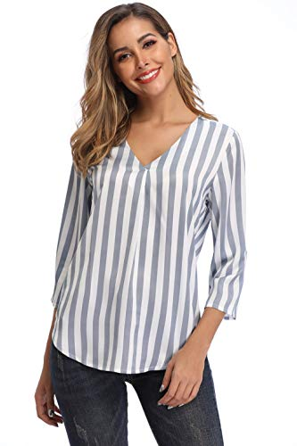 Dilgul Striped Shirts for Women 3/4 Sleeve V Neck Blouses Tops