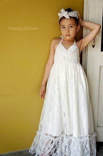 59da0b5c0c7ca Girls Maxi dress Boho girls dress Lace flower girl dress Beach girl dress  junior bridesmaid dresses
