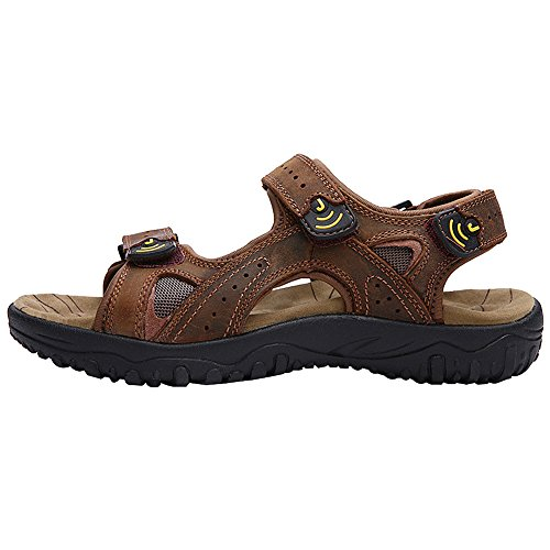 Lightweight Sneakers Leather Loop Men's Outdoor Hook Brown And Sandals Genuine Summer Rismart v0qwEOw