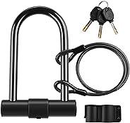 Bike U Lock, Diyife 16mm Heavy Duty Bike Lock U Antitheft Bicycle Lock with 4ft Security Steel Cable, Mounting