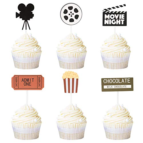 Newqueen 24 Pack Movie Cupcake Toppers Movie Night Cupcake Picks Hollywood Theme Baby Shower Birthday Party Cake