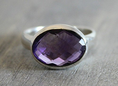 (Oval Purple Amethyst Gemstone Statement Cocktail Sterling Silver Ring, size 8)