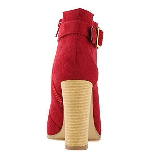 Fereshte Womens Fashion Simple Block Heel Zipper Knight Boots Red PxWjE