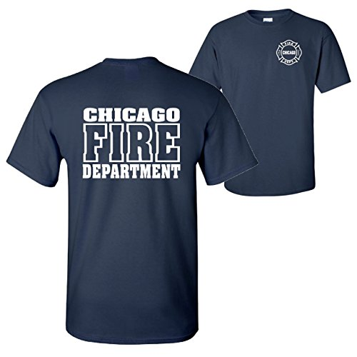 (Chicago Fire Department 2-Sided Maltese Big Logo T-shirt-10837-10868 (Large, Navy)