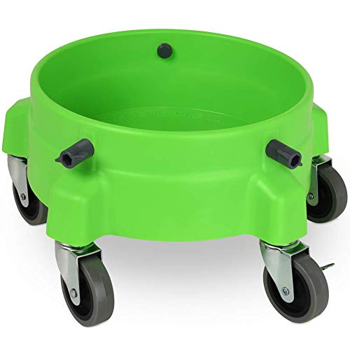 "Liquid X Original Bucket Dolly - Lime Green with 3"" Gray Casters - Larger Wheels for Smoother Maneuvering"