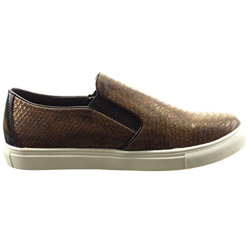 Sopily - damen Mode Schuhe Sneaker Slip-On Schlangenhaut Reißverschluss - Braun