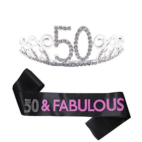 B4MBOO 50th Birthday Tiara and Sash, HAPPY 50th
