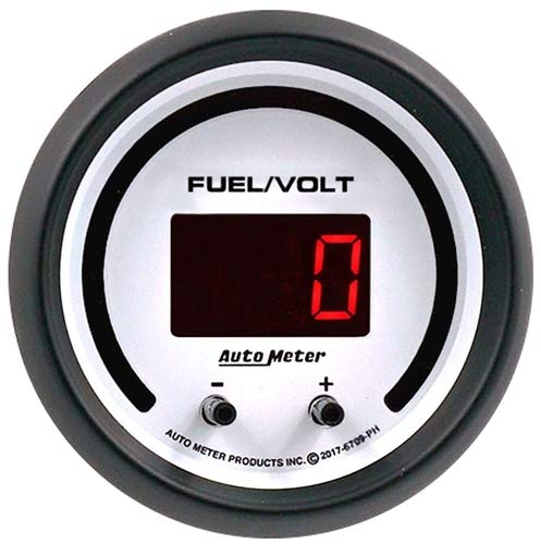 AutoMeter 6709-PH Phantom Elite Digital Fuel Level/Voltage Gauge 2-1/16 in. White Dial Face Black Bezel Red LED Lighting Programmable 0-280 Ohms 8-18V Phantom Elite Digital Fuel Level/Voltage Gauge