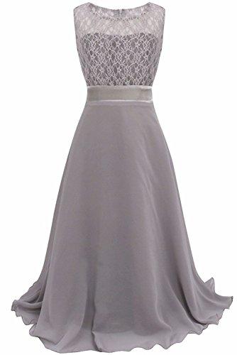Big Girls Lace Chiffon Bridesmaid Dress Dance Ball Party Maxi Gown (14, - Ball Bridesmaid