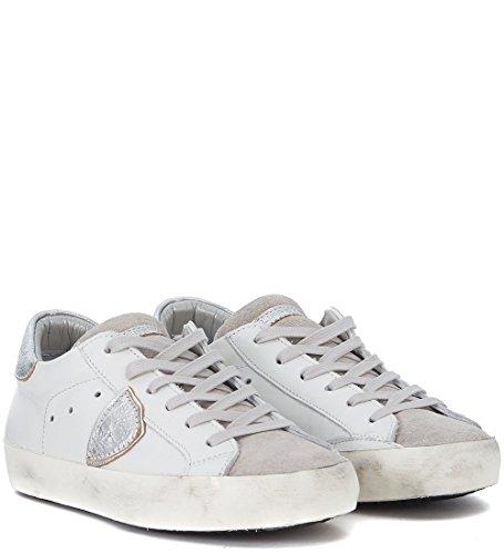 Paris Blanca y Philippe Model Blanco Plata Sneaker Piel en aqEXPwP