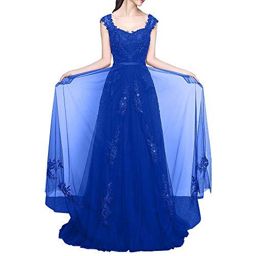 Linie Bodenlang Royal Breit Promkleider Weinrot Kleider La Traeger Damen Marie Spitze Blau Abiballkleider A Braut Abendkleider qaSxzwPS