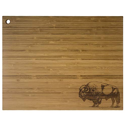 Totally Bamboo Buffalo Serving Board, 100% Bamboo Board for Serving & Food Prep With Permanent Laser Etched Art, 14