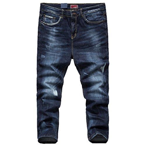 Pantalones YAANCUN Azul34 Pernera Hombre Vaqueros Talla Desgarrar Vaqueros Recta Jeans Elasticidad Extra Agujeros Azul Aqrgxdqw