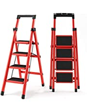 4 Step Ladder with Handrails/Tool Slot,Step Stools for Adults 330lb,Step Stool Folding 4 Step Easy to Open and Store,Anti-Slip Pedal 20 X 30cm,Slim and Compact
