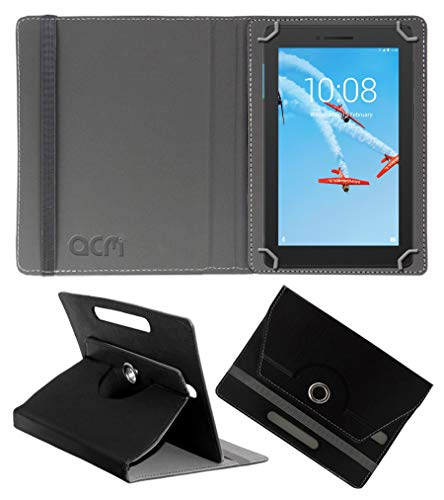Acm Rotating Leather Flip Case Compatible with Lenovo Tab E7 Tb-7104I Tablet Cover Stand Black