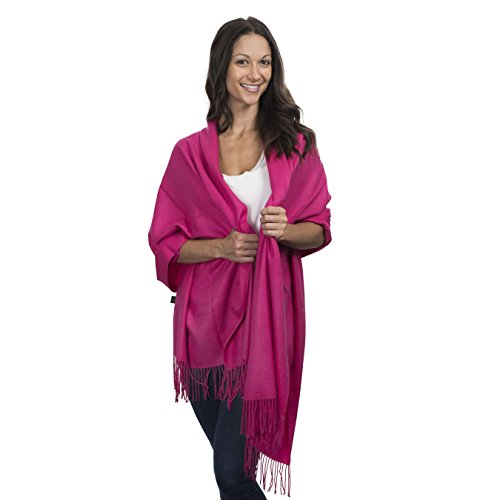 Cashmere & Class Large Soft Cashmere Scarf Wrap - Womens Winter Shawl + Gift Box (hot pink)