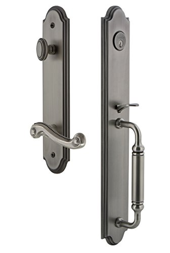 Grandeur 842937 Hardware Arc One-Piece Handleset with C Grip and Newport Lever Size, Single Cylinder Lock-2.375