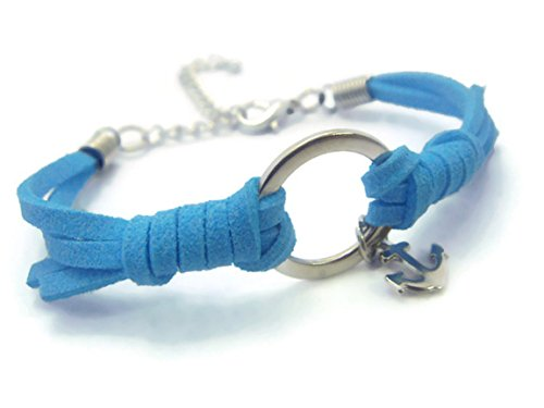 Bubble Wrap Costume Uk (ZVACE Jewelry Charm Art Metal Anchor Pendant Adjustable Leather Wrap Bracelet (Light Blue), SS1)