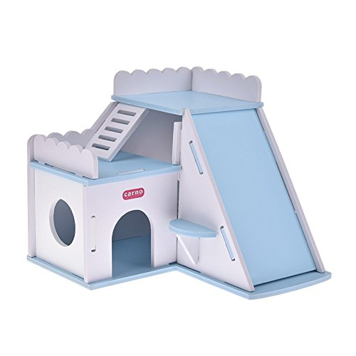 Dwarf Hamster Hideout Hut House DIY Wood Hut for Small Animals like Dwarf Hamsters, Chinchillas, Guinea pigs, Mouse, Rat Nest Toys (SKY BLUE)