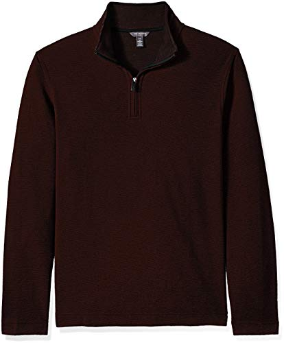 Van Heusen Men's Size Big and Tall Flex Long Sleeve Ottoman Quarter Zip, red oxblood, 2X-Large Tall ()