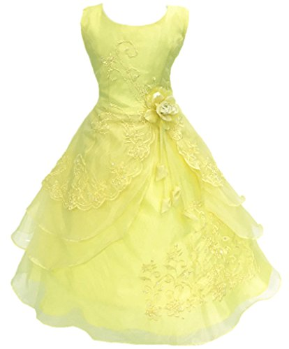 Shiny Toddler Big Girls Embroidered Beaded Flower Girl Birthday Party Dress with Petticoat 13t-14t,Yellow ()