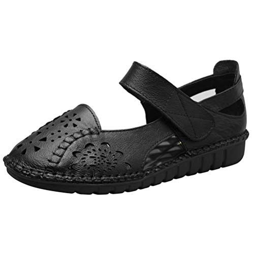 (Mordenmiss Women's Hollow Out Sandals Vintage Hook Loop Handmade Mary Jane Flat Carving Moccasins Black US 7)