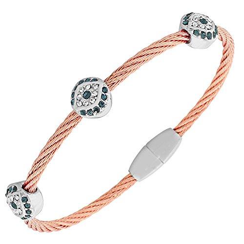 My Daily Styles Fashion Alloy Rose Gold-Tone Twisted Cable White Blue CZ Evil Eye Bangle Bracelet