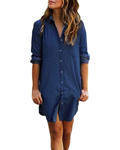 Kidsform Long Sleeve Blouses for Women Jeans Tunic Dress Button Down Top Shirt Dresses Denim Vintage Mini Dress with Pockets A-Dark Blue Small