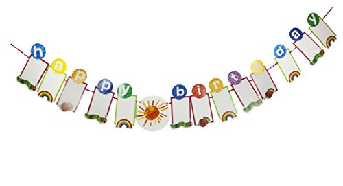 World of Eric Carle, The Very Hungry Caterpillar Party Supplies, Happy Birthday Photo Garland Decoration, Paper, 3M]()