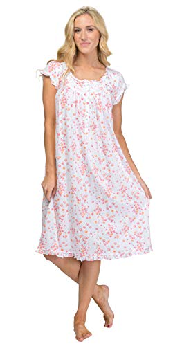 Embroidered Floral Nightgown - Eileen West Cotton Knit Waltz Floral Nightgown, S, White Floral