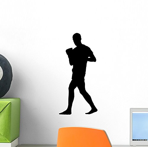 Wallmonkeys WM118845 Thai Boxing Silhouette Wall Decal Peel and Stick Graphic (12 in H x 8 in - Thai Stick Mini