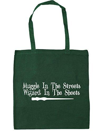 HippoWarehouse MUGGLE en la calle mago en la hojas Tote Compras Bolsa de playa 42cm x38cm, 10litros verde oscuro